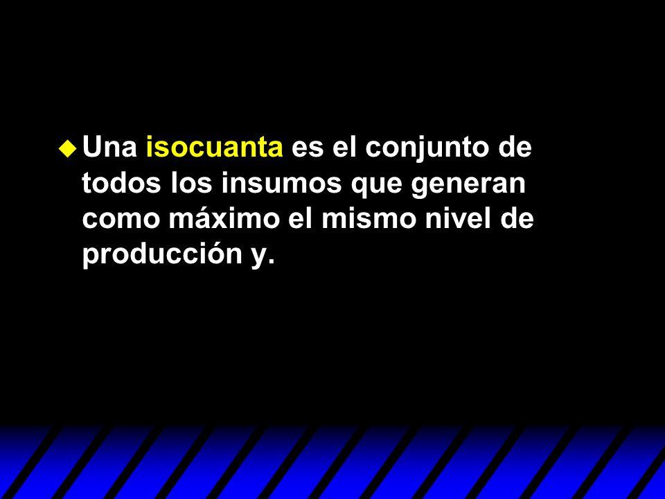 Una isocuanta es el conjunto de todos los insumos que generan como máximo el mismo nivel de producción y.