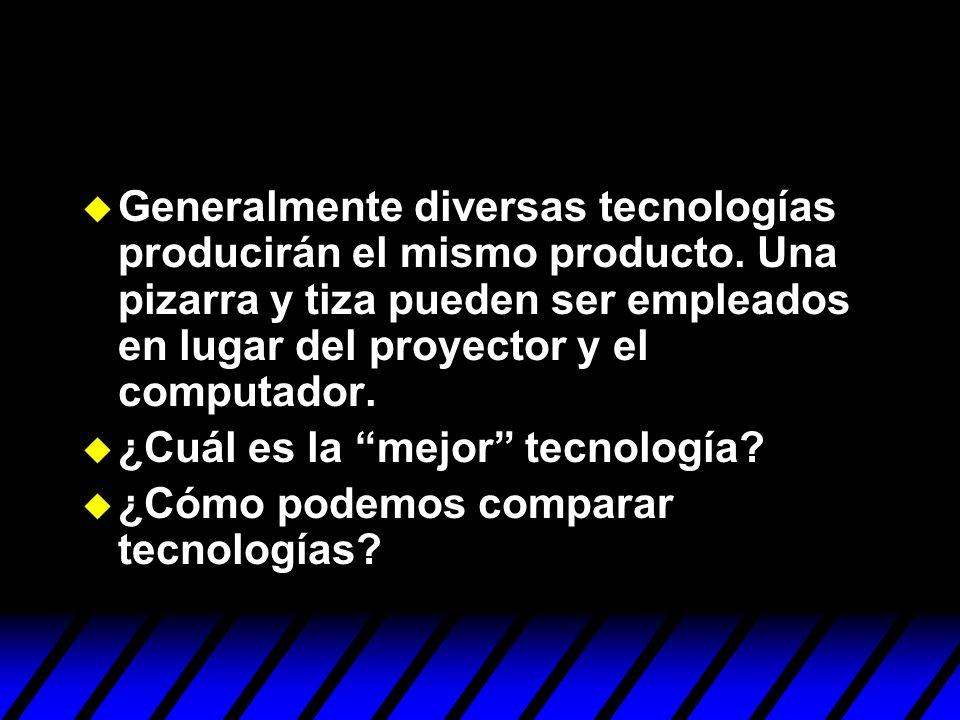 Generalmente diversas tecnologías producirán el mismo producto