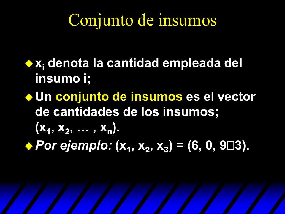 Conjunto de insumos xi denota la cantidad empleada del insumo i;