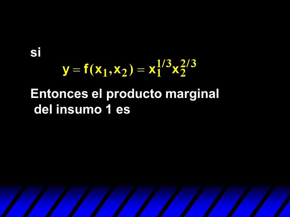 si Entonces el producto marginal del insumo 1 es
