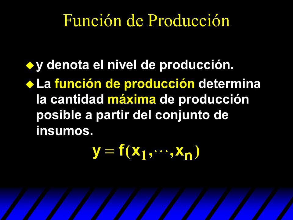 Función de Producción y denota el nivel de producción.