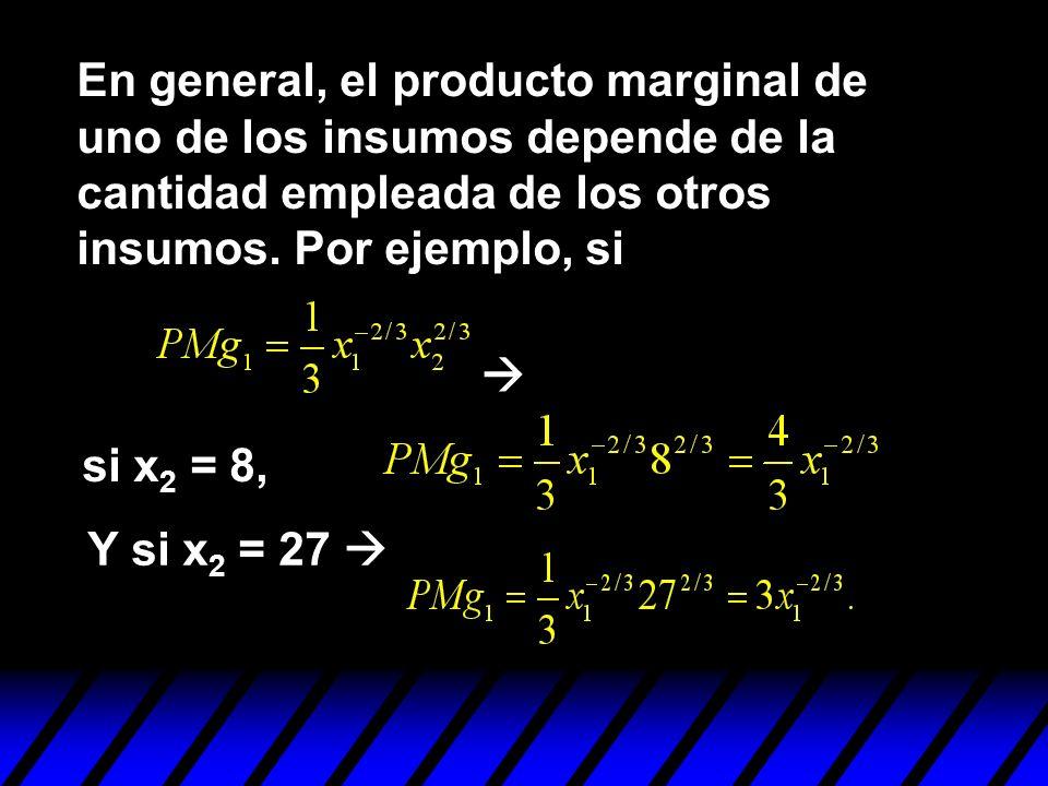 En general, el producto marginal de uno de los insumos depende de la cantidad empleada de los otros insumos. Por ejemplo, si
