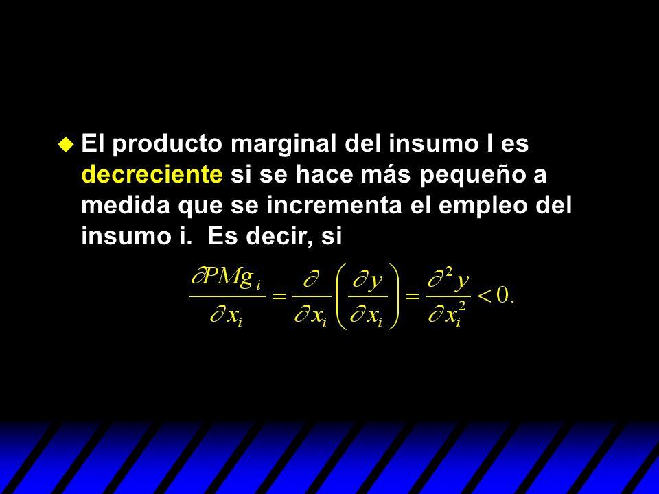 El producto marginal del insumo I es decreciente si se hace más pequeño a medida que se incrementa el empleo del insumo i.