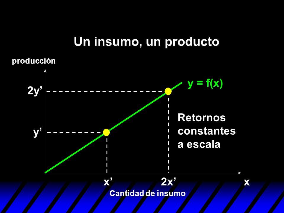 Un insumo, un producto y = f(x) 2y' Retornos constantes a escala y' x'