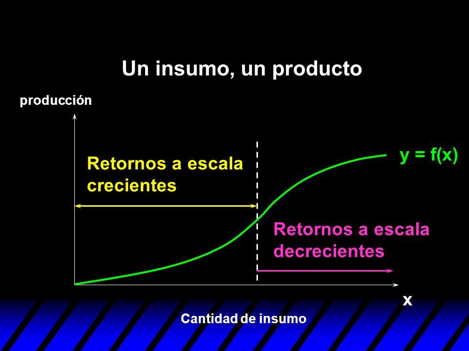 Un insumo, un producto y = f(x) Retornos a escala crecientes