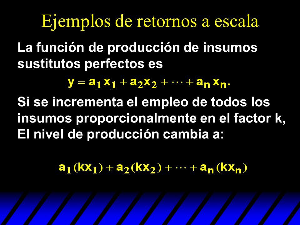 Ejemplos de retornos a escala