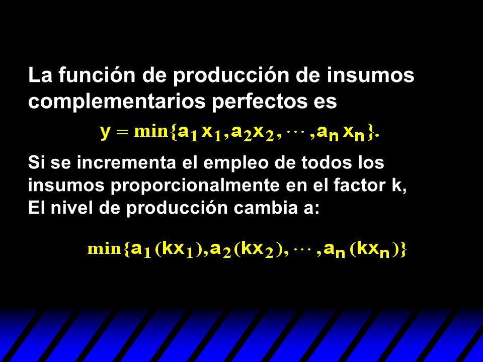 La función de producción de insumos complementarios perfectos es