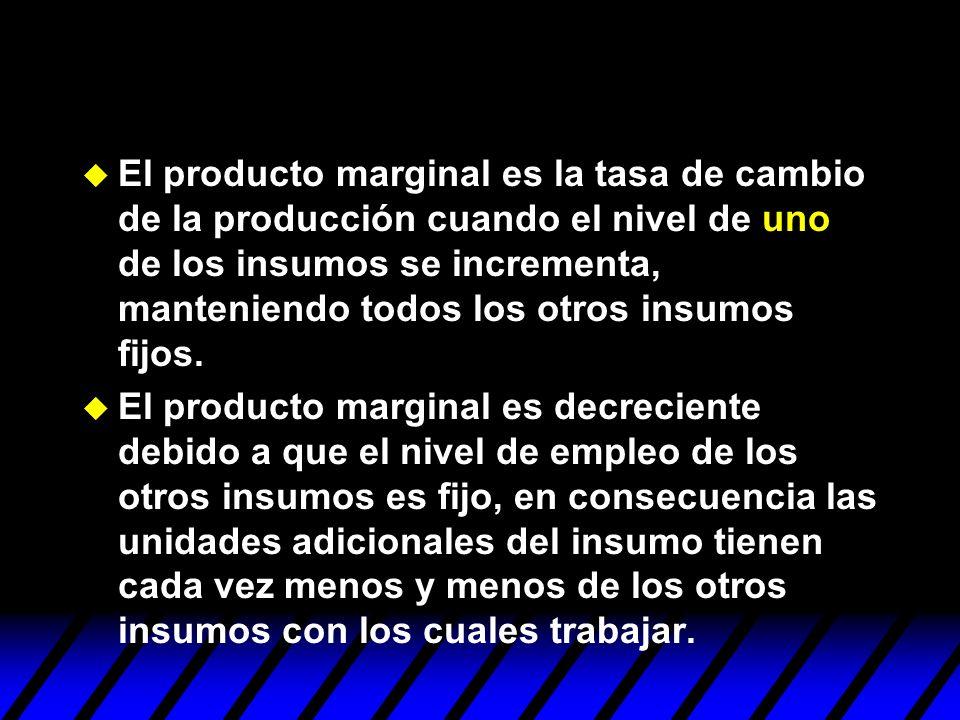 El producto marginal es la tasa de cambio de la producción cuando el nivel de uno de los insumos se incrementa, manteniendo todos los otros insumos fijos.