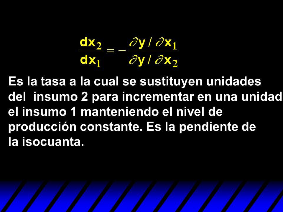 Es la tasa a la cual se sustituyen unidades del insumo 2 para incrementar en una unidad el insumo 1 manteniendo el nivel de producción constante.