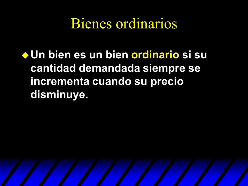 Bienes ordinarios Un bien es un bien ordinario si su cantidad demandada siempre se incrementa cuando su precio disminuye.