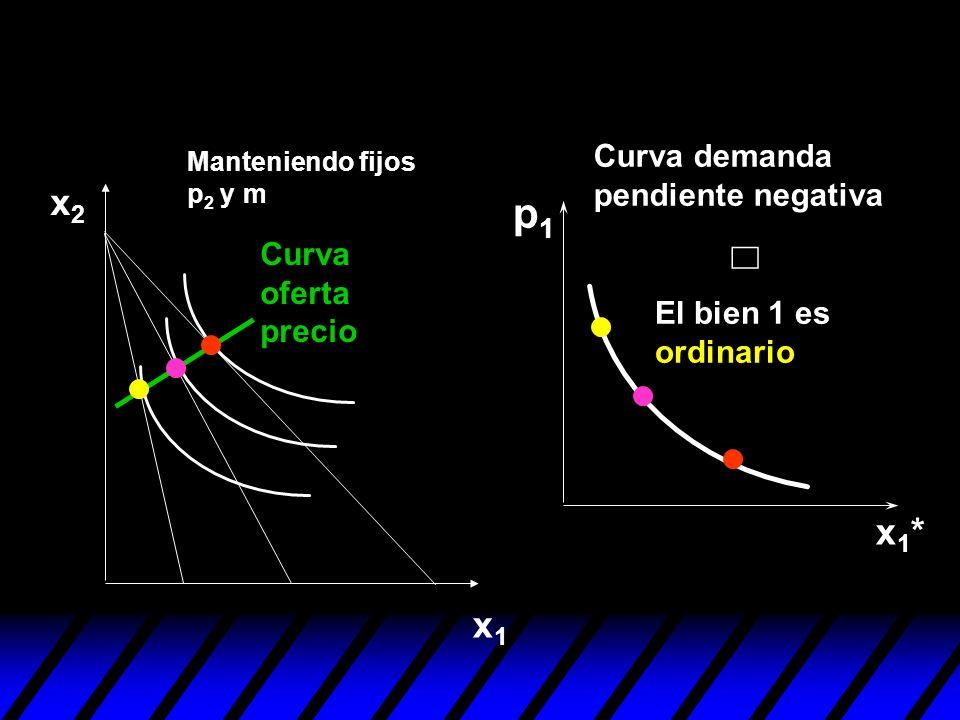 p1 Û x2 x1* x1 Curva demanda pendiente negativa Curva oferta precio