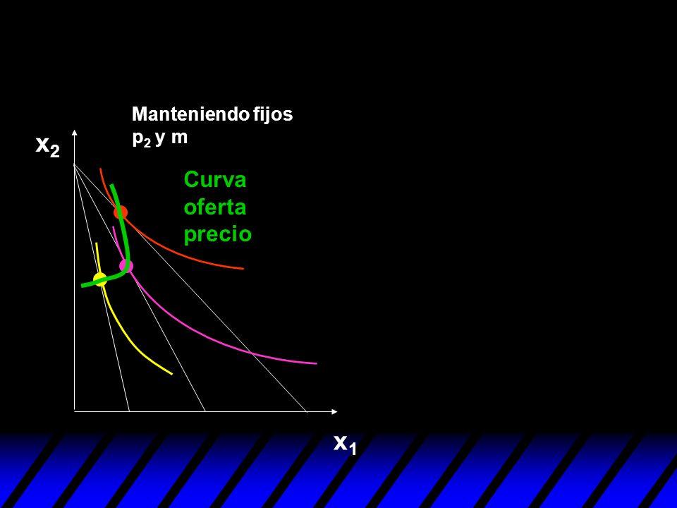 Manteniendo fijos p2 y m x2 Curva oferta precio x1