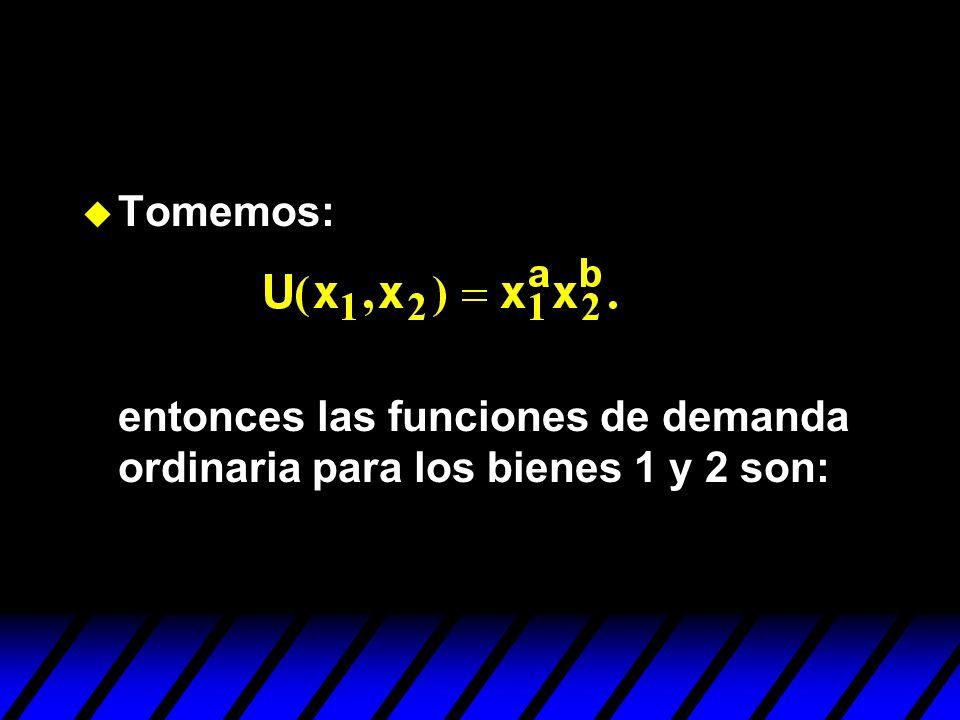 Tomemos: entonces las funciones de demanda ordinaria para los bienes 1 y 2 son: