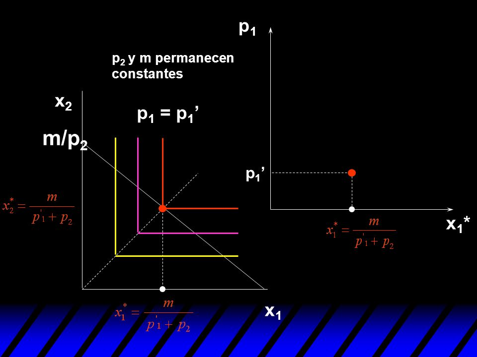 p1 p2 y m permanecen constantes x2 p1 = p1' m/p2 p1' x1* x1
