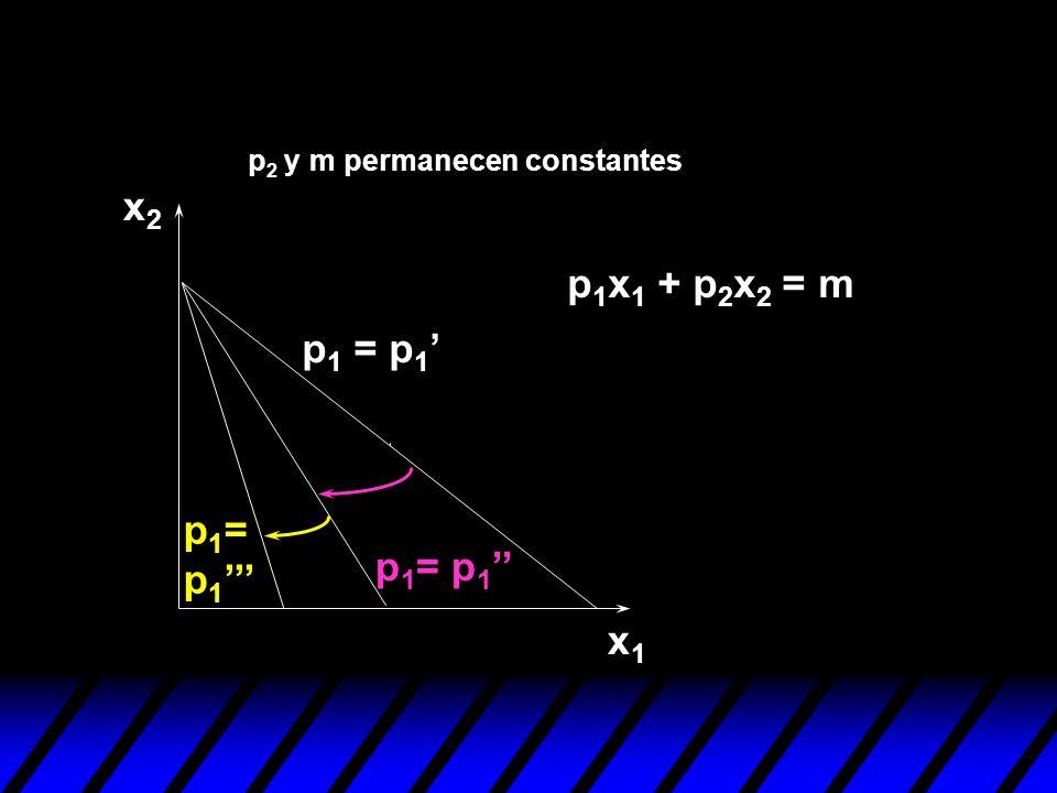 x2 p1x1 + p2x2 = m p1 = p1' p1= p1''' p1= p1'' x1