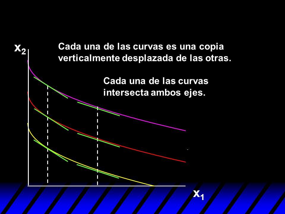 x2Cada una de las curvas es una copia verticalmente desplazada de las otras. Cada una de las curvas intersecta ambos ejes.
