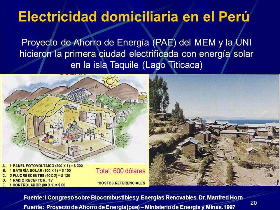 Electricidad domiciliaria en el Perú