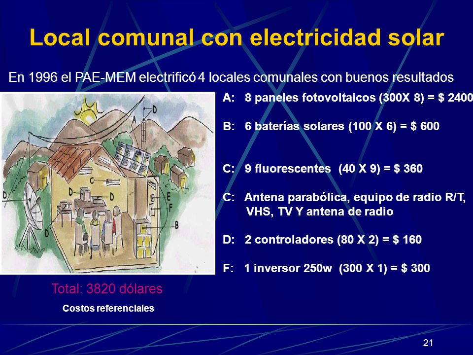 Local comunal con electricidad solar