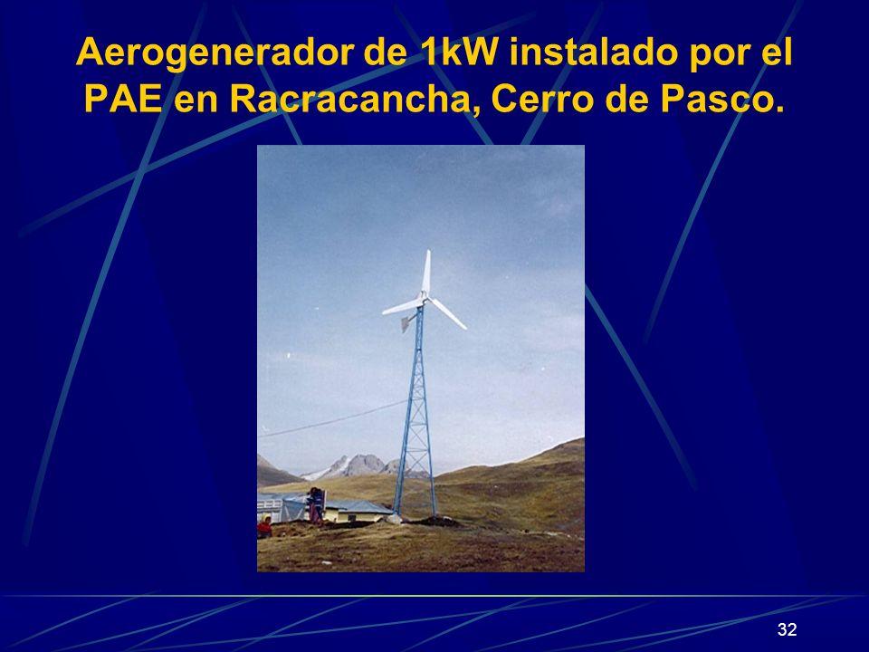 Aerogenerador de 1kW instalado por el PAE en Racracancha, Cerro de Pasco.
