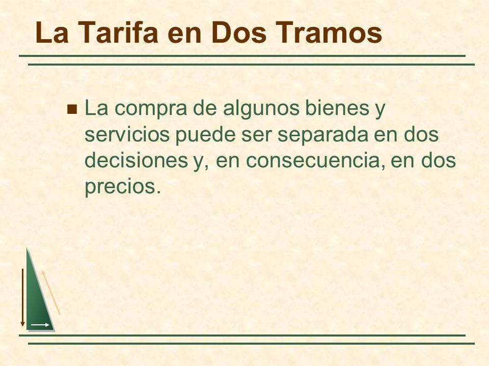 La Tarifa en Dos Tramos La compra de algunos bienes y servicios puede ser separada en dos decisiones y, en consecuencia, en dos precios.