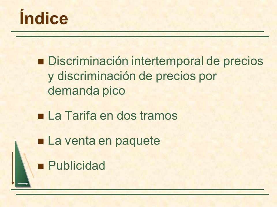 ÍndiceDiscriminación intertemporal de precios y discriminación de precios por demanda pico. La Tarifa en dos tramos.