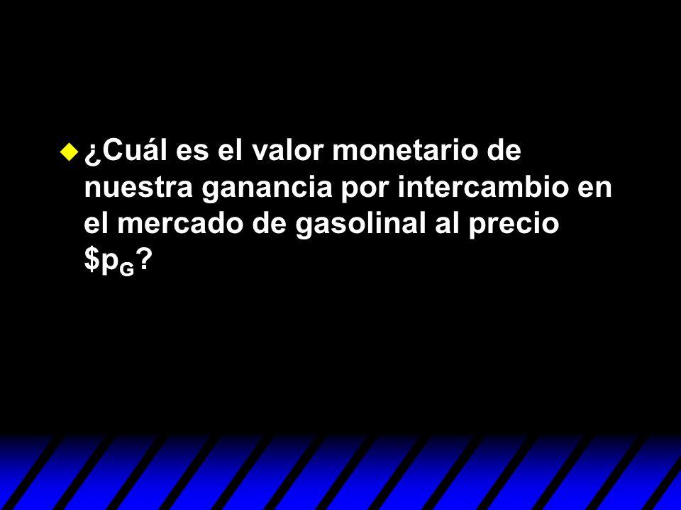 ¿Cuál es el valor monetario de nuestra ganancia por intercambio en el mercado de gasolinal al precio $pG