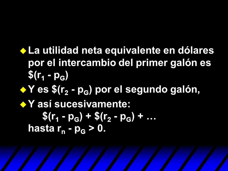 La utilidad neta equivalente en dólares por el intercambio del primer galón es $(r1 - pG)