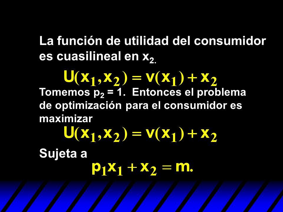 La función de utilidad del consumidor es cuasilineal en x2.