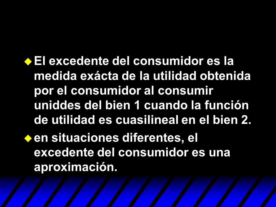 El excedente del consumidor es la medida exácta de la utilidad obtenida por el consumidor al consumir uniddes del bien 1 cuando la función de utilidad es cuasilineal en el bien 2.