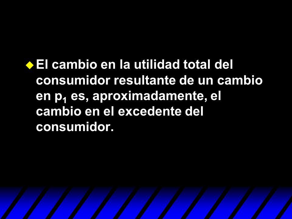 El cambio en la utilidad total del consumidor resultante de un cambio en p1 es, aproximadamente, el cambio en el excedente del consumidor.