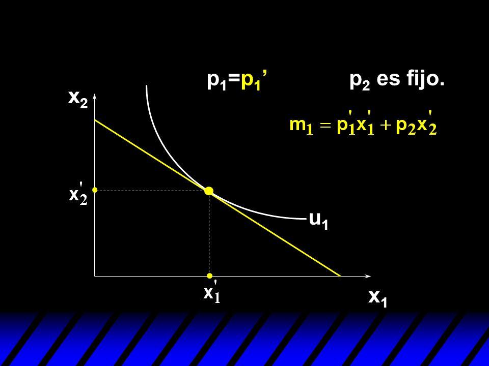 p1=p1' p2 es fijo. x2 u1 x1