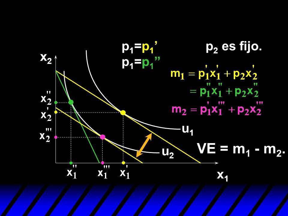 p1=p1' p1=p1 p2 es fijo. x2 u1 VE = m1 - m2. u2 x1
