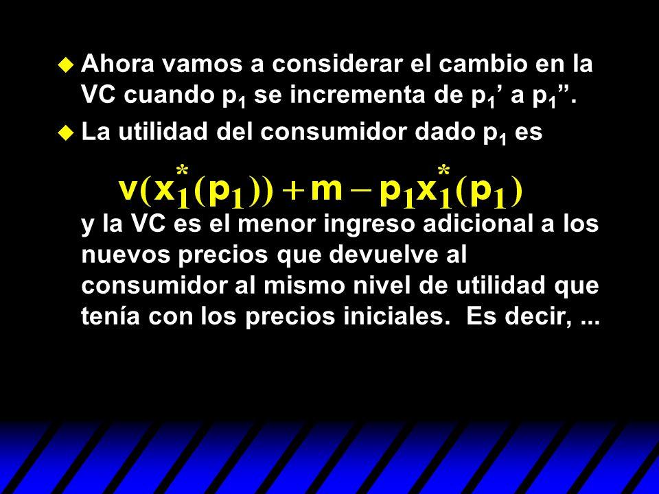 Ahora vamos a considerar el cambio en la VC cuando p1 se incrementa de p1' a p1 .