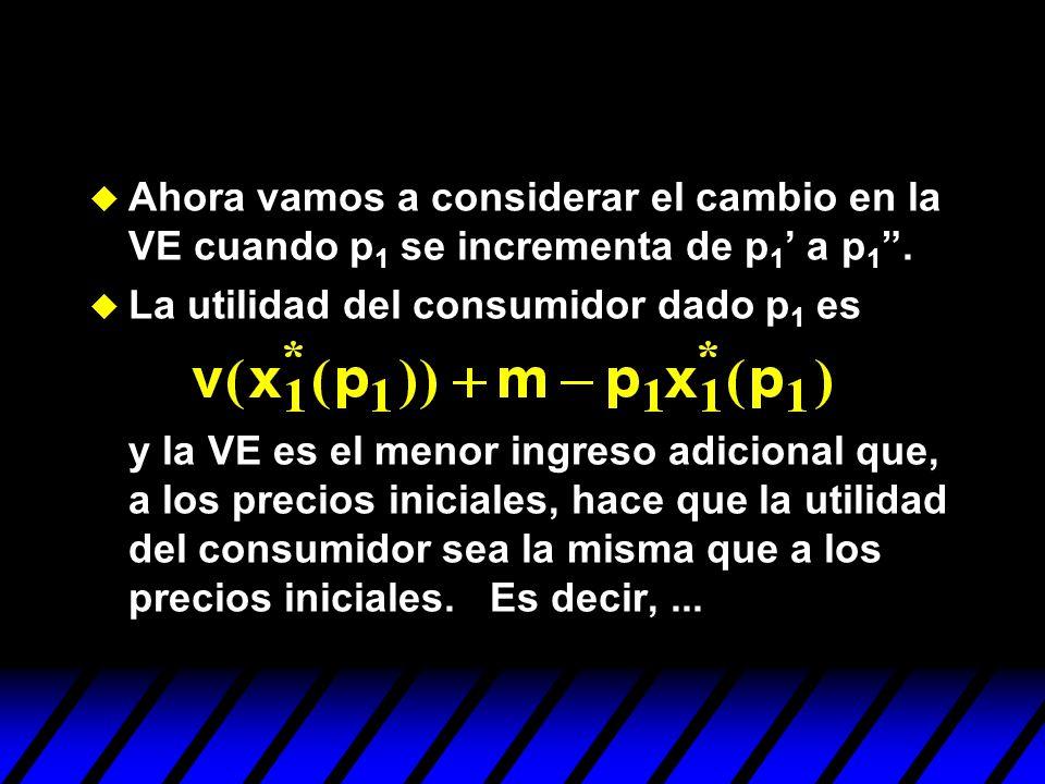 Ahora vamos a considerar el cambio en la VE cuando p1 se incrementa de p1' a p1 .