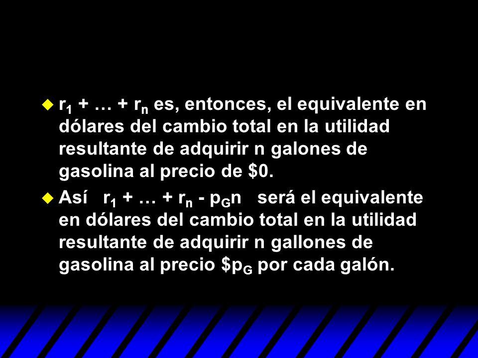 r1 + … + rn es, entonces, el equivalente en dólares del cambio total en la utilidad resultante de adquirir n galones de gasolina al precio de $0.