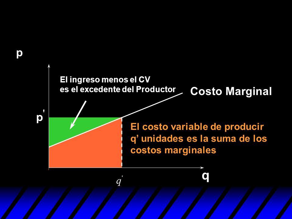 p El ingreso menos el CV es el excedente del Productor. Costo Marginal.