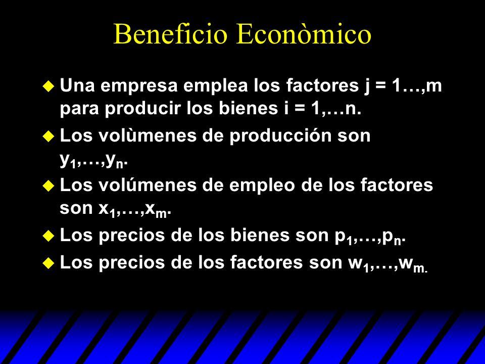 Beneficio Econòmico Una empresa emplea los factores j = 1…,m para producir los bienes i = 1,…n. Los volùmenes de producción son y1,…,yn.