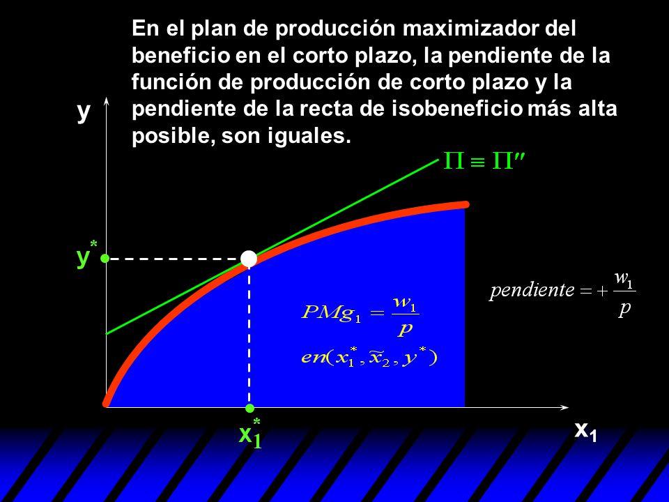 En el plan de producción maximizador del beneficio en el corto plazo, la pendiente de la función de producción de corto plazo y la pendiente de la recta de isobeneficio más alta posible, son iguales.