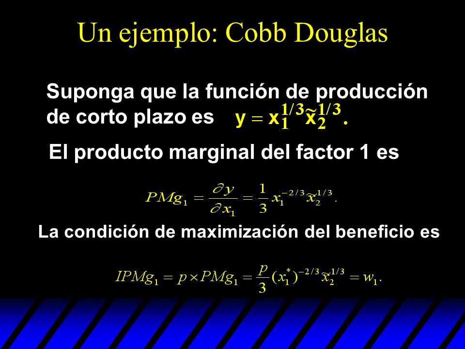 Un ejemplo: Cobb Douglas