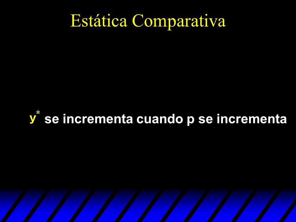 Estática Comparativa se incrementa cuando p se incrementa
