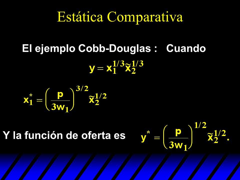 Estática Comparativa El ejemplo Cobb-Douglas : Cuando