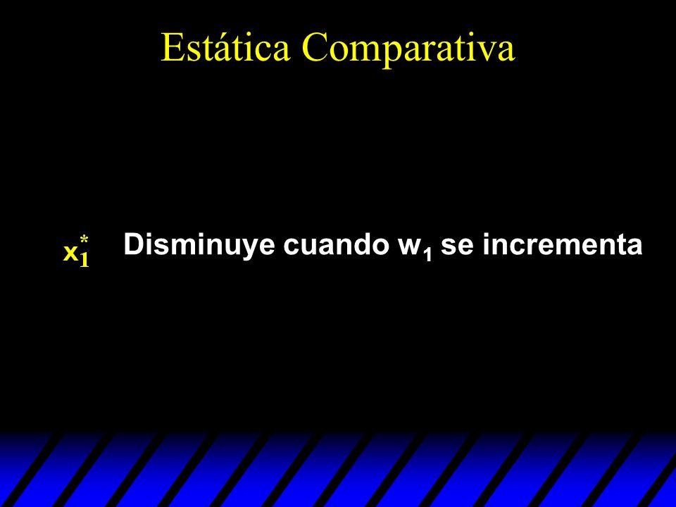 Estática Comparativa Disminuye cuando w1 se incrementa