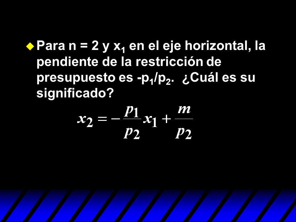 Para n = 2 y x1 en el eje horizontal, la pendiente de la restricción de presupuesto es -p1/p2.