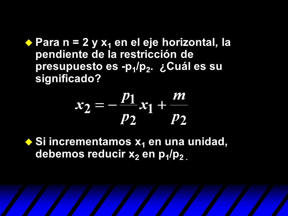 Para n = 2 y x1 en el eje horizontal, la pendiente de la restricción de presupuesto es -p1/p2. ¿Cuál es su significado