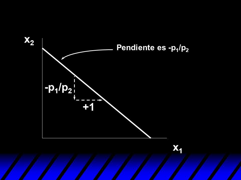 x2 Pendiente es -p1/p2 -p1/p2 +1 x1
