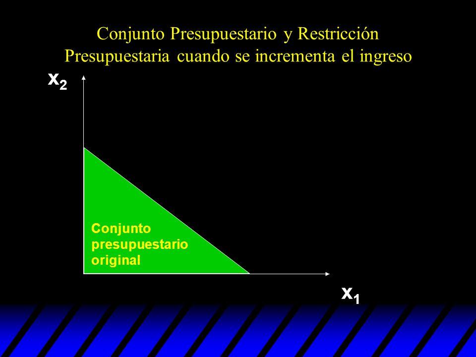 Conjunto Presupuestario y Restricción Presupuestaria cuando se incrementa el ingreso