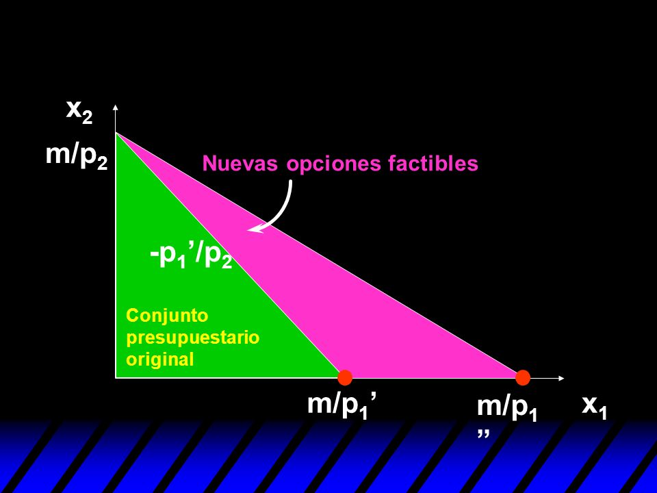 x2 m/p2 -p1'/p2 m/p1' m/p1 x1 Nuevas opciones factibles Conjunto