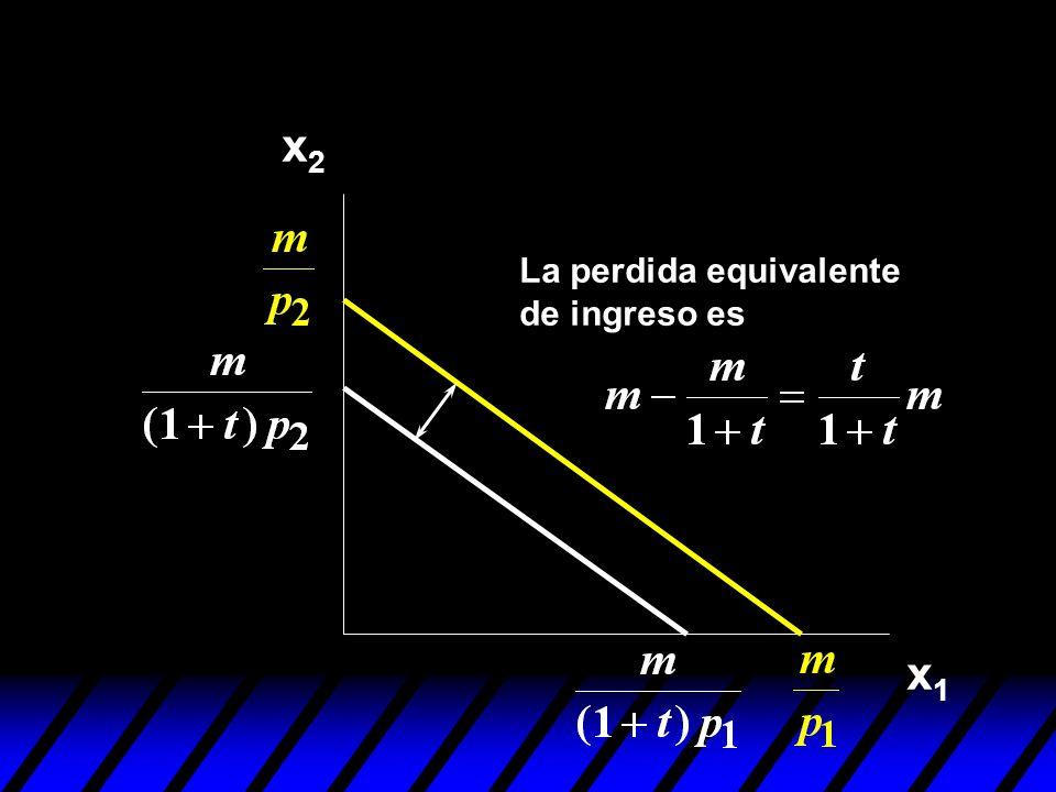 x2 La perdida equivalente de ingreso es x1