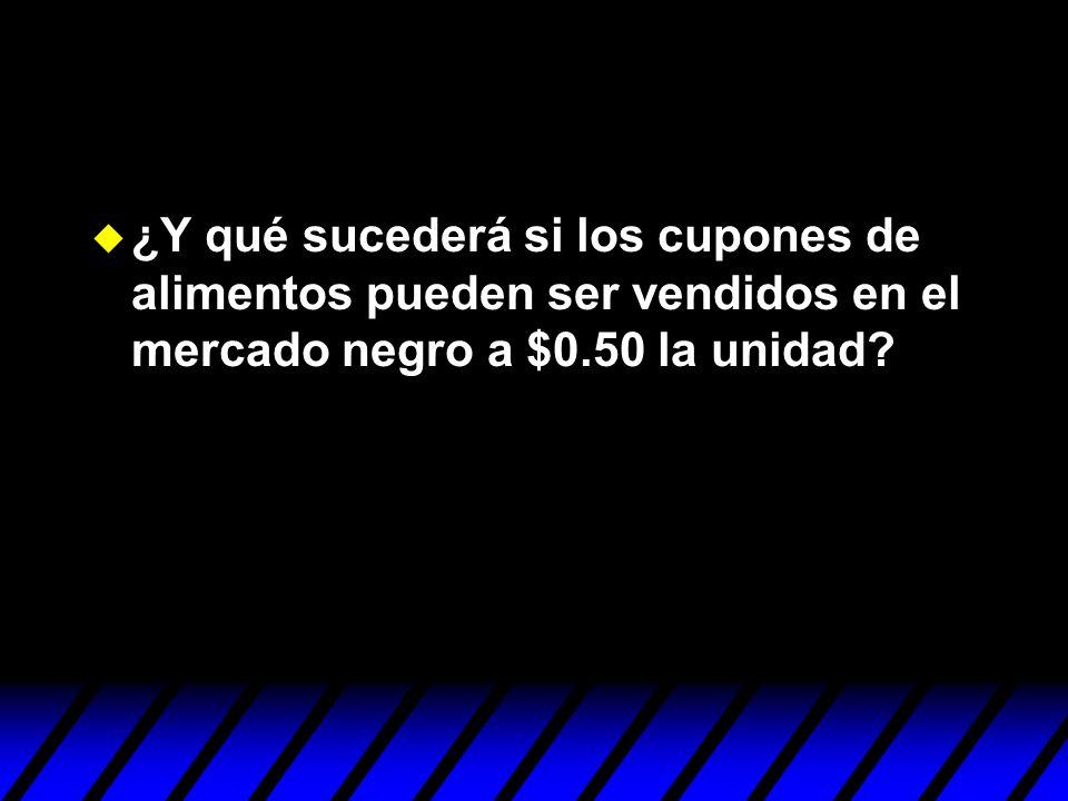 ¿Y qué sucederá si los cupones de alimentos pueden ser vendidos en el mercado negro a $0.50 la unidad