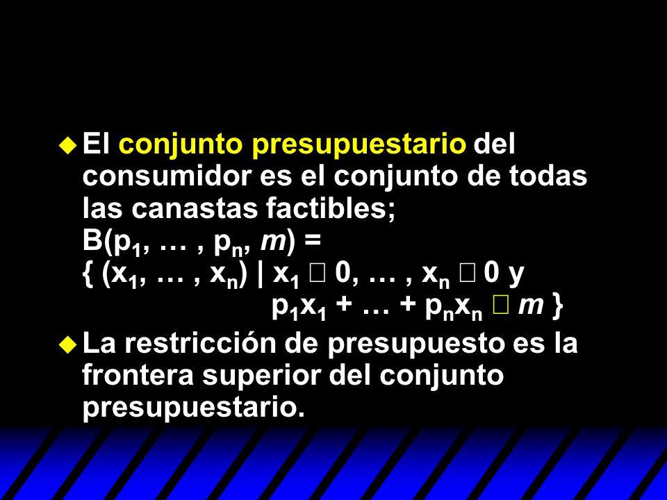 El conjunto presupuestario del consumidor es el conjunto de todas las canastas factibles; B(p1, … , pn, m) = { (x1, … , xn) | x1 ³ 0, … , xn ³ 0 y p1x1 + … + pnxn £ m }